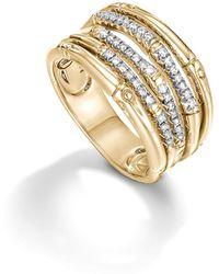 John Hardy - Bamboo 18k Yellow Gold Diamond Pavé Wide Ring - Lyst