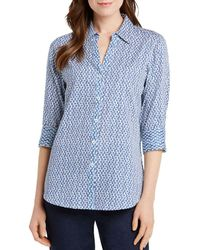 Foxcroft - Mary Dotted Button-down Top - Lyst