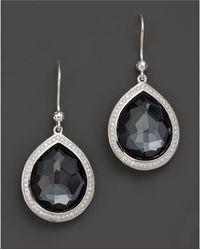 Ippolita | Sterling Silver Stella Earrings In Hematite Doublet With Diamonds | Lyst