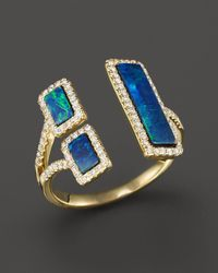 Meira T - Yellow Gold Opal Double Bar Open Ring - Lyst
