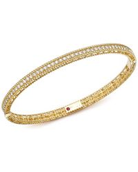 Roberto Coin - 18k Yellow Gold Symphony Braided Bangle Bracelet With Diamonds - Lyst