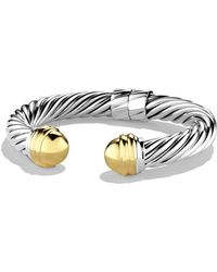 David Yurman - Cable Classics Bracelet With Gold Domes - Lyst