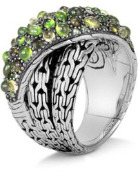 John Hardy - Sterling Silver Classic Chain Crossover Ring With Green Tourmaline, Chrome Diopside & Peridot - Lyst
