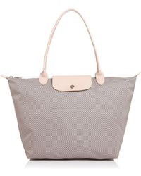 d054a34225 Longchamp Large Le Pliage Dandy Print Top Handle Tote in White - Lyst