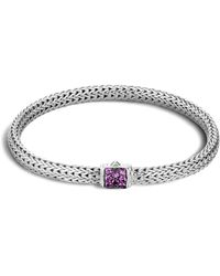 John Hardy - Classic Chain Sterling Silver Lava Extra Small Bracelet With Amethyst - Lyst