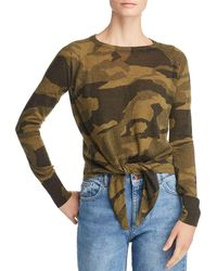 9c1bb5f0027 Olivaceous - Camo Long Sleeve Tie-front Top - Lyst