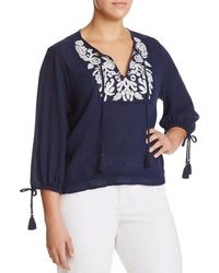Lucky Brand - Embroidered Tassel Top - Lyst