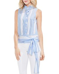 Vince Camuto - Ruffled Striped Tie-front Top - Lyst