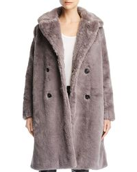 French Connection - Annie Double-breasted Faux-fur Coat - Lyst