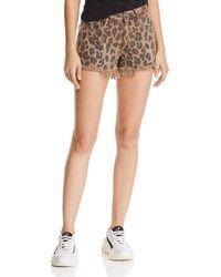 Blank NYC Distressed Leopard Print Denim Shorts In Animal