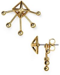 Rebecca Minkoff | Pyramid Fan Stud And Jacket Earrings | Lyst