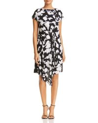 Kenneth Cole - Gathered Front Floral Print Dress - Lyst
