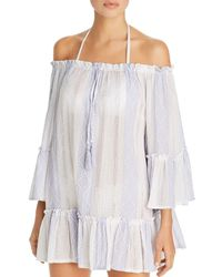 Surf Gypsy - Woven Stripe Off-the-shoulder Tunic Swim Cover-up - Lyst