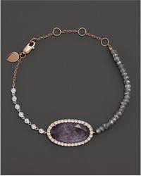 Meira T - 14k Rose Gold Rough Amethyst Beaded Bracelet With Diamonds - Lyst