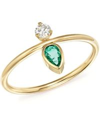 Zoe Chicco - X Gemfields 14k Yellow Gold Vertical Diamond And Pear-cut Emerald Ring - Lyst