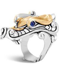 John Hardy - 18k Yellow Gold & Sapphire Dragon Legend Ring - Lyst