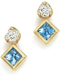 Zoe Chicco | 14k Yellow Gold Icon Stud Earrings With Diamond And Aquamarine | Lyst