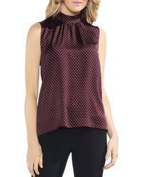 Vince Camuto - Sleeveless Printed Mock-neck Top - Lyst