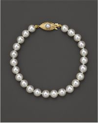 Bloomingdale's - Cultured Akoya Pearl Bracelet In 14k Yellow Gold, 6.5mm - Lyst