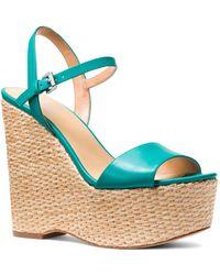 MICHAEL Michael Kors - Women's Fisher Leather Platform Wedge Sandals - Lyst