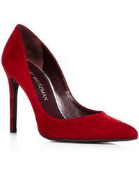 Stuart Weitzman - Women's Curvia Suede High Heel Pumps - Lyst