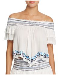 Surf Gypsy - Embroidered Off-the-shoulder Top Swim Cover-up - Lyst