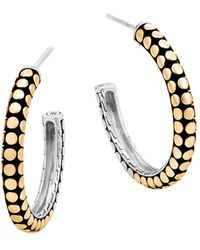 John Hardy | 18k Yellow Gold And Sterling Silver Dot Small Hoop Earrings | Lyst