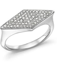Adina Reyter - Sterling Silver Pavé Diamond Stretched Diamond Signet Ring - Lyst