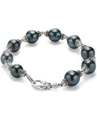Lagos - 18k Gold And Sterling Silver Luna Cultured Freshwater Black Pearl Bracelet - Lyst