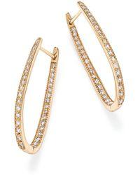 Bloomingdale's - Diamond Inside Out Oval Hoop Earrings In 14k Yellow Gold, 1.50 Ct. T.w. - Lyst