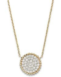 Bloomingdale's - Diamond Pavé Disk Pendant In 14k Yellow Gold, .55 Ct. T.w. - Lyst