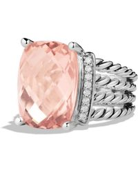 David Yurman - Wheaton Ring With Morganite And Diamonds - Lyst