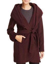 T Tahari - Fiona Faux Fur Trim Wrap Coat - Lyst
