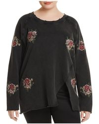 Lucky Brand - Embroidered Rose Distressed Sweatshirt - Lyst