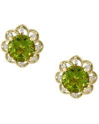 Bloomingdale's - Peridot & Diamond Flower Stud Earrings In 14k Yellow Gold - Lyst