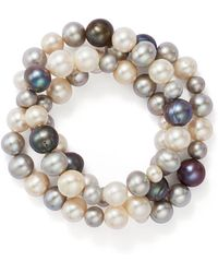 Bloomingdale's - Dyed & White Cultured Freshwater Pearl Three Row Stretch Bracelet - Lyst
