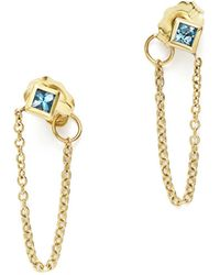 Zoe Chicco | 14k Yellow Gold Draped Chain Stud Earrings With Aquamarine | Lyst