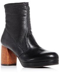 Chie Mihara - Women's Quisu Leather Block-heel Platform Booties - Lyst