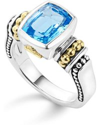 Lagos - 18k Gold And Sterling Silver Caviar Colour Small Ring With Swiss Blue Topaz - Lyst