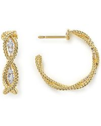 Roberto Coin - 18k Yellow Gold New Barocco Braided Hoop Earrings With Diamonds - Lyst