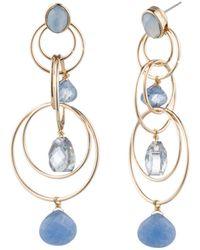 Aqua - Floating Stone Link Chandelier Earrings - Lyst