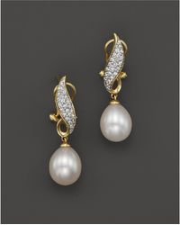 Bloomingdale's - Cultured Freshwater Pearl Drop Earrings With Diamonds In 14k Yellow Gold, 8mm - Lyst