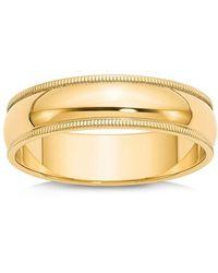 Bloomingdale's - Men's 6mm Milgrain Half Round Wedding Band 14k Yellow Gold - Lyst