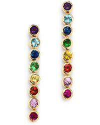 Shebee - 14k Yellow Gold Multicolor Sapphire Linear Drop Earrings - Lyst