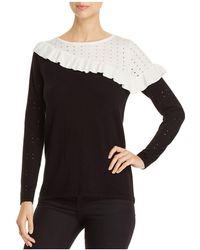 Avec | Ruffle Trimmed Color Block Sweater | Lyst