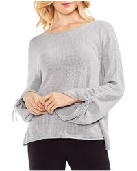 Vince Camuto - Drawstring Cuff Pointelle Sweater - Lyst