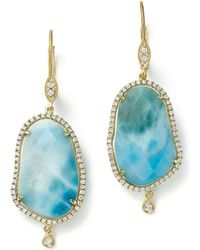 Meira T - 14k Yellow Gold Larimar Drop Earrings With Diamonds - Lyst