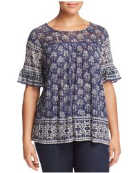 Lucky Brand - Printed Lace-yoke Top - Lyst
