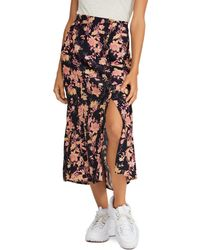 8a12cb68f2 Free People - Retro Love Printed Button - Front Midi Skirt - Lyst
