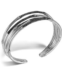 John Hardy - Bamboo Silver Lava Narrow Flex Cuff With Black Sapphires - Lyst